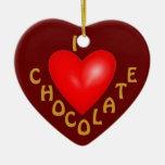 Amo el ornamento del chocolate adorno de cerámica en forma de corazón