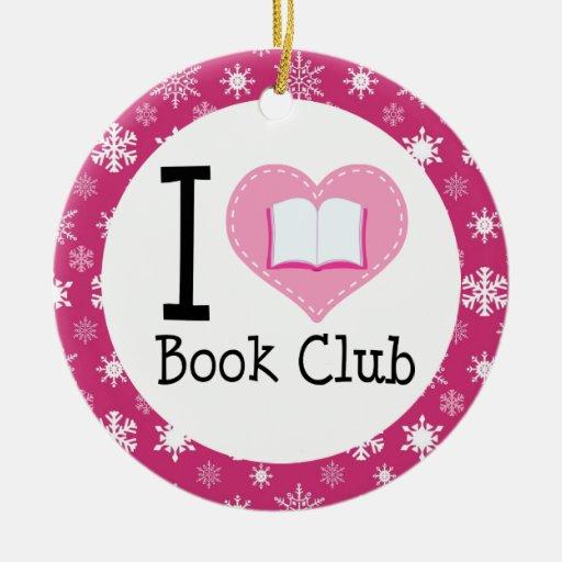 Amo el ornamento del círculo de lectores adorno navideño redondo de cerámica