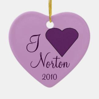 Amo el ornamento del corazón de NORTON Ornamentos De Navidad