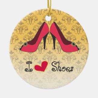 Amo el ornamento del navidad de los zapatos adorno navideño redondo de cerámica