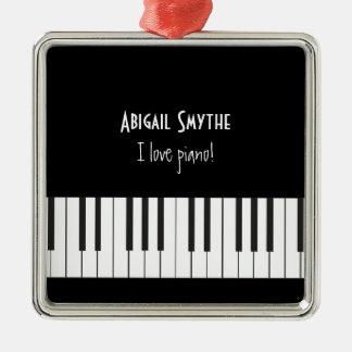 Amo el ornamento del piano adorno navideño cuadrado de metal