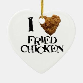 Amo el ornamento del pollo frito adorno de cerámica en forma de corazón