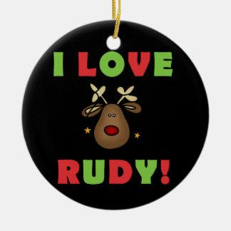 Amo el ornamento del recuerdo del navidad de Rudy Adorno Redondo De Cerámica
