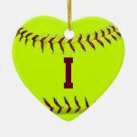 Amo el ornamento del softball ornamentos de navidad