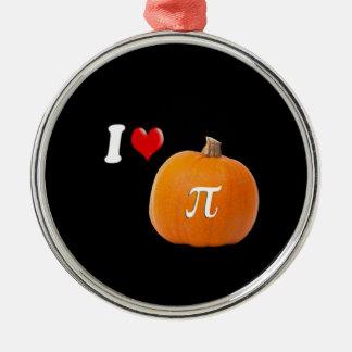 Amo el oro del pastel de calabaza y del naranja adorno navideño redondo de metal