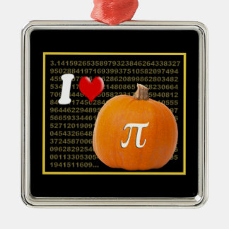 Amo el oro del pastel de calabaza y del naranja de adorno navideño cuadrado de metal