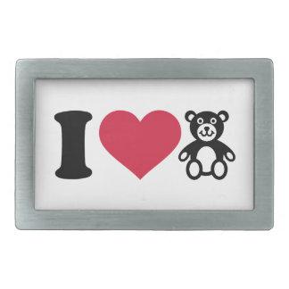 Amo el oso de peluche hebillas de cinturon rectangulares