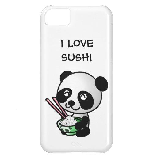 Amo el oso y el cuenco de panda lindo del sushi di funda para iPhone 5C