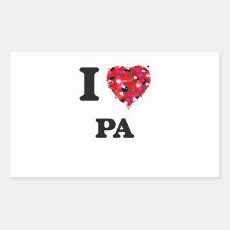 Amo el PA Pegatina Rectangular