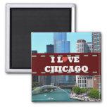 Amo el paisaje urbano de Chicago Imán Cuadrado