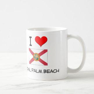 Amo el PALM BEACH REAL la Florida Taza Básica Blanca