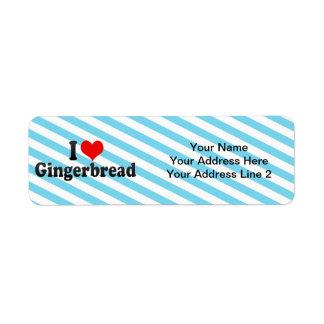 Amo el pan de jengibre etiquetas de remite
