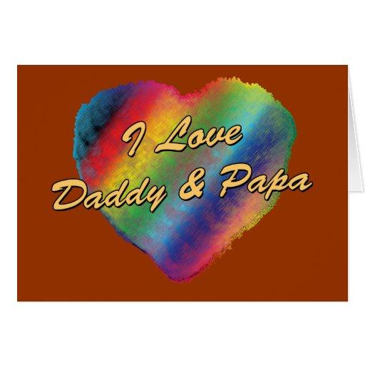 Amo el papá y a la papá tarjeta de felicitación