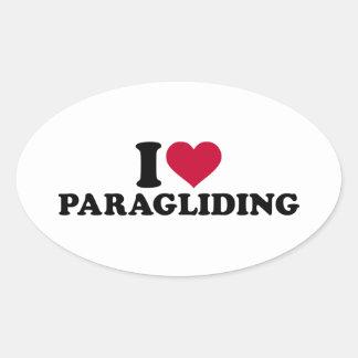 Amo el paragliding pegatina ovalada