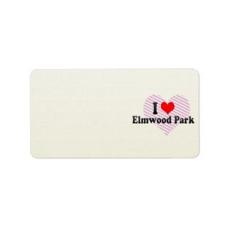 Amo el parque de Elmwood, Estados Unidos Etiquetas De Dirección