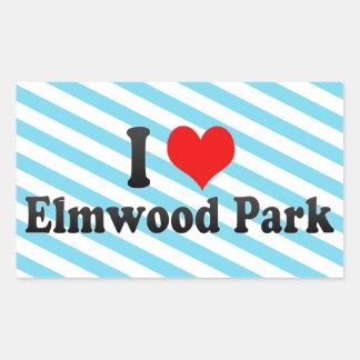 Amo el parque de Elmwood, Estados Unidos Rectangular Pegatina
