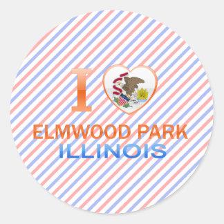 Amo el parque de Elmwood, IL Pegatina Redonda