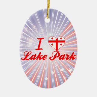 Amo el parque del lago, Georgia Adorno Ovalado De Cerámica