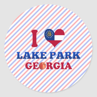Amo el parque del lago, Georgia Pegatina Redonda