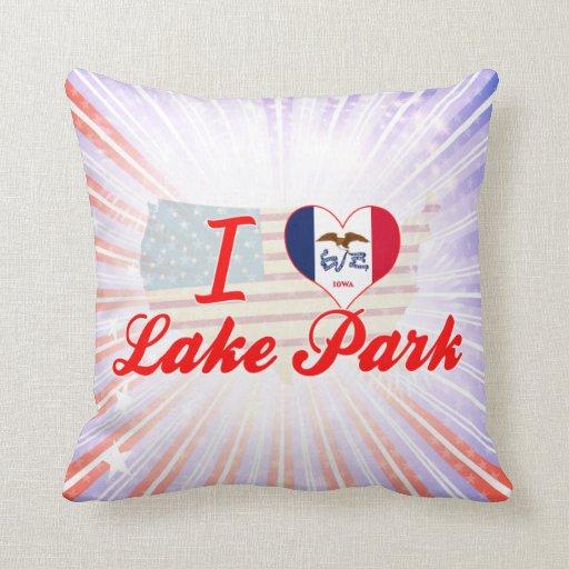 Amo el parque del lago, Iowa Cojines