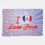 Amo el parque del lago, Iowa Toalla