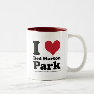 AMO el parque rojo de Morton Taza De Dos Tonos