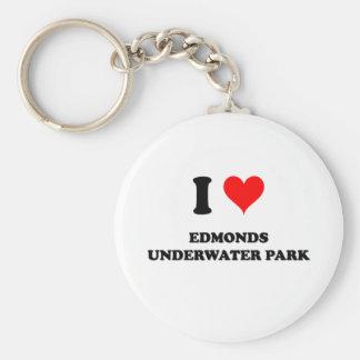 Amo el parque subacuático de Edmonds Llavero Redondo Tipo Pin