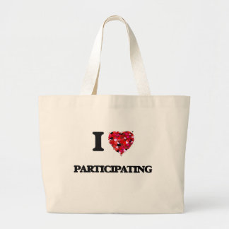 Amo el participar bolsa tela grande