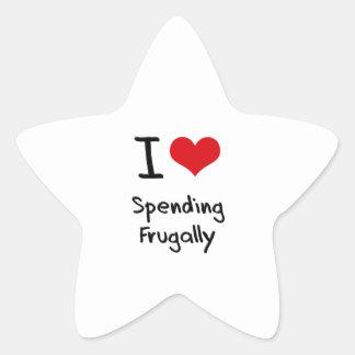 Amo el pasar frugalmente pegatinas forma de estrella