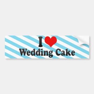 Amo el pastel de bodas pegatina de parachoque