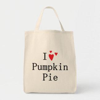 Amo el pastel de calabaza bolsas lienzo