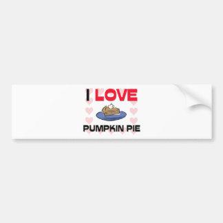 Amo el pastel de calabaza etiqueta de parachoque