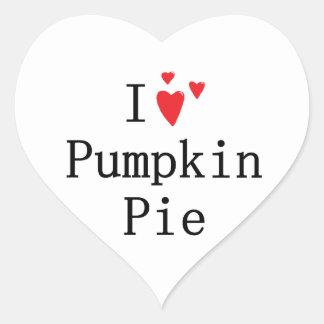 Amo el pastel de calabaza pegatina en forma de corazón