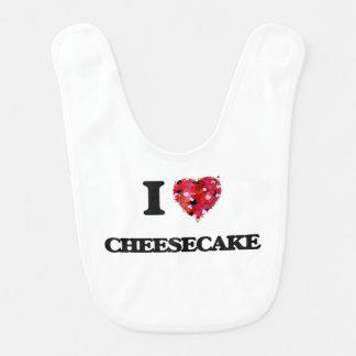 Amo el pastel de queso baberos para bebé