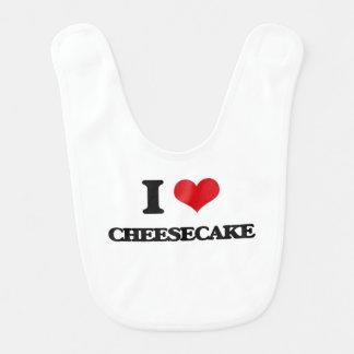 Amo el pastel de queso babero de bebé