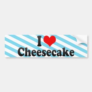 Amo el pastel de queso pegatina de parachoque