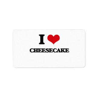 Amo el pastel de queso etiqueta de dirección