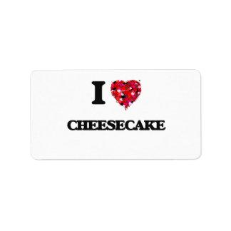 Amo el pastel de queso etiquetas de dirección