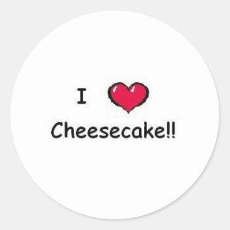 Amo el pastel de queso pegatina redonda
