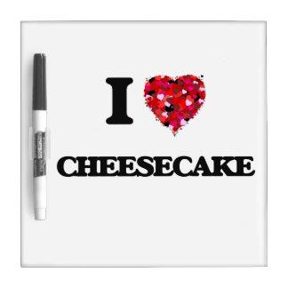 Amo el pastel de queso pizarras blancas de calidad