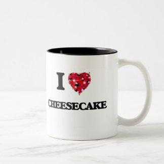Amo el pastel de queso taza de dos tonos
