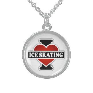 Amo el patinaje de hielo collar de plata esterlina