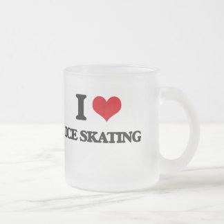 Amo el patinaje de hielo taza cristal mate