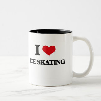 Amo el patinaje de hielo taza dos tonos