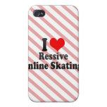 Amo el patinaje en línea de Ressive iPhone 4 Protectores