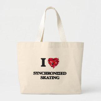 Amo el patinaje sincronizado bolsa de tela grande