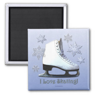 Amo el patinar imán cuadrado