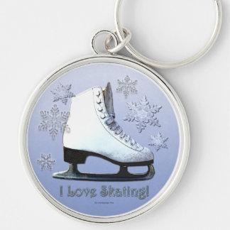 Amo el patinar llavero redondo plateado