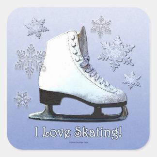 Amo el patinar pegatina cuadrada