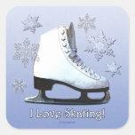 Amo el patinar pegatinas cuadradases